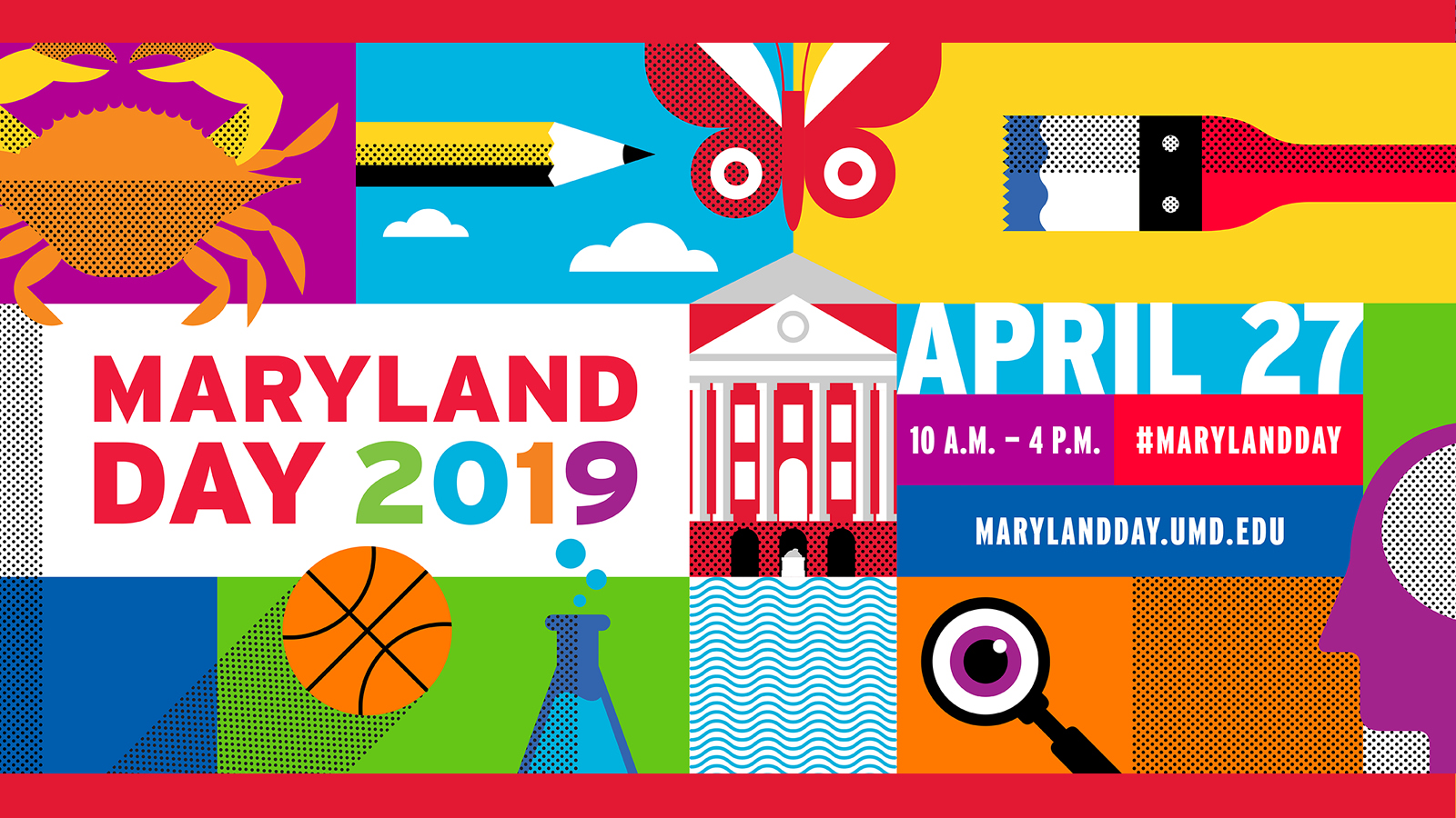 colorful illustrations surrounding Maryland Day event information
