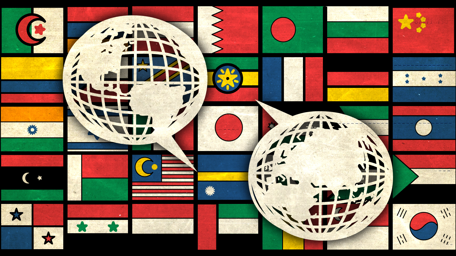 Photoillustration of flags from around the world and speech bubbles
