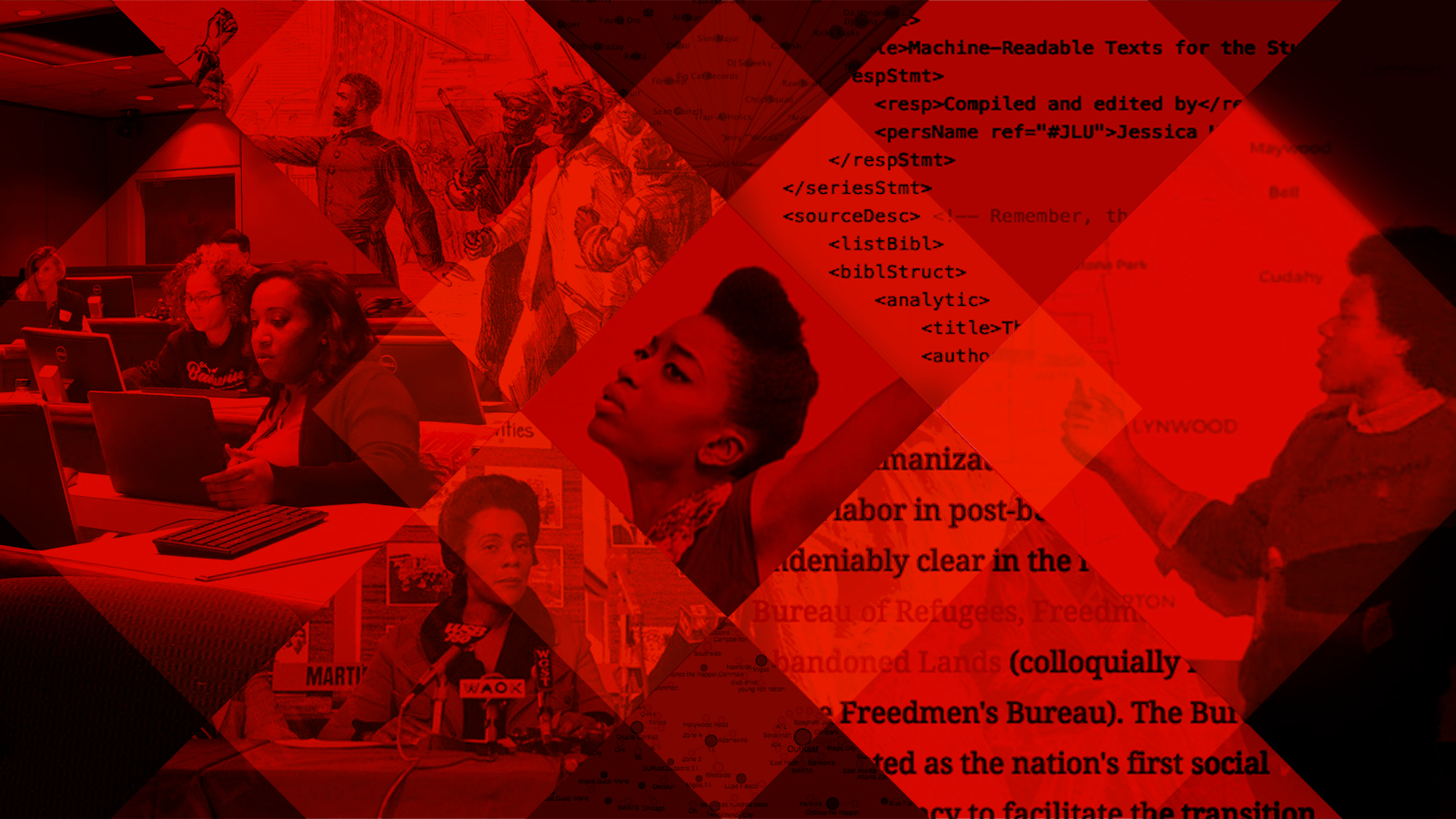 Geometric collage in red and black featuring images of important people in African American history and culture