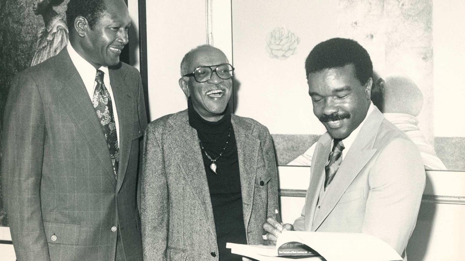 Los Angeles Mayor Tom Bradley (left), artist Charles White and David Driskell